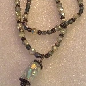 Vintage aura beads 2 strand necklace